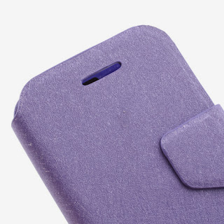Wallston Filament Grain Leather Case Wallet with Card Slot for BlackBerry Q5 - Purple