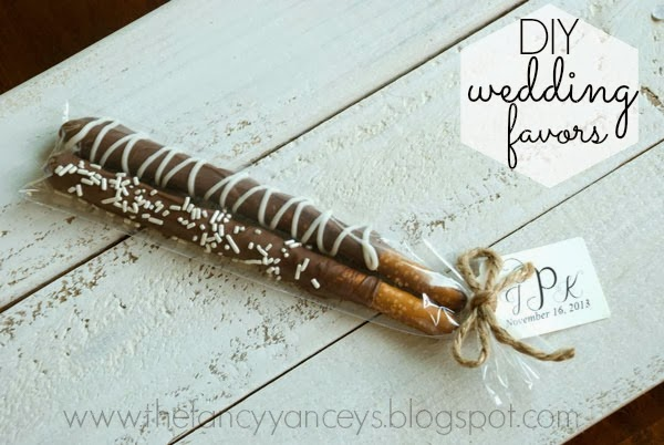 Chocolate covered pretzels - DIY wedding favor with monogrammed tag ...