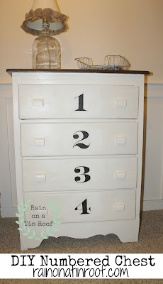 Numbered DIY Chalk Paint Chest {rainonatinroof.com} #DIY #makeover #chest #chalkpaint