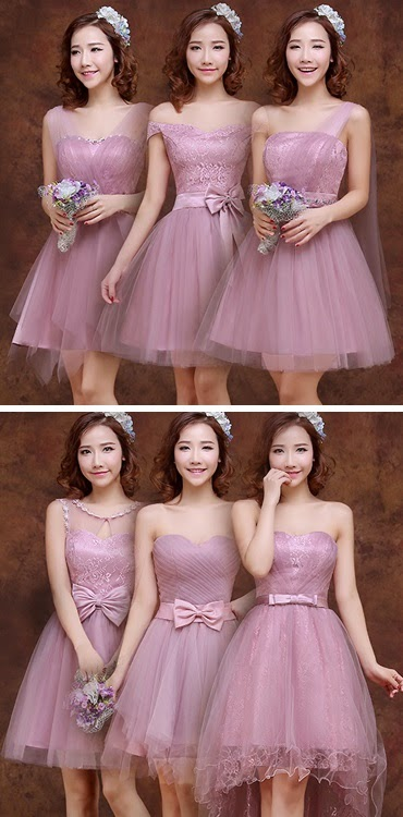 6-Design Pink Burgundy Midi Bridesmaids Dress