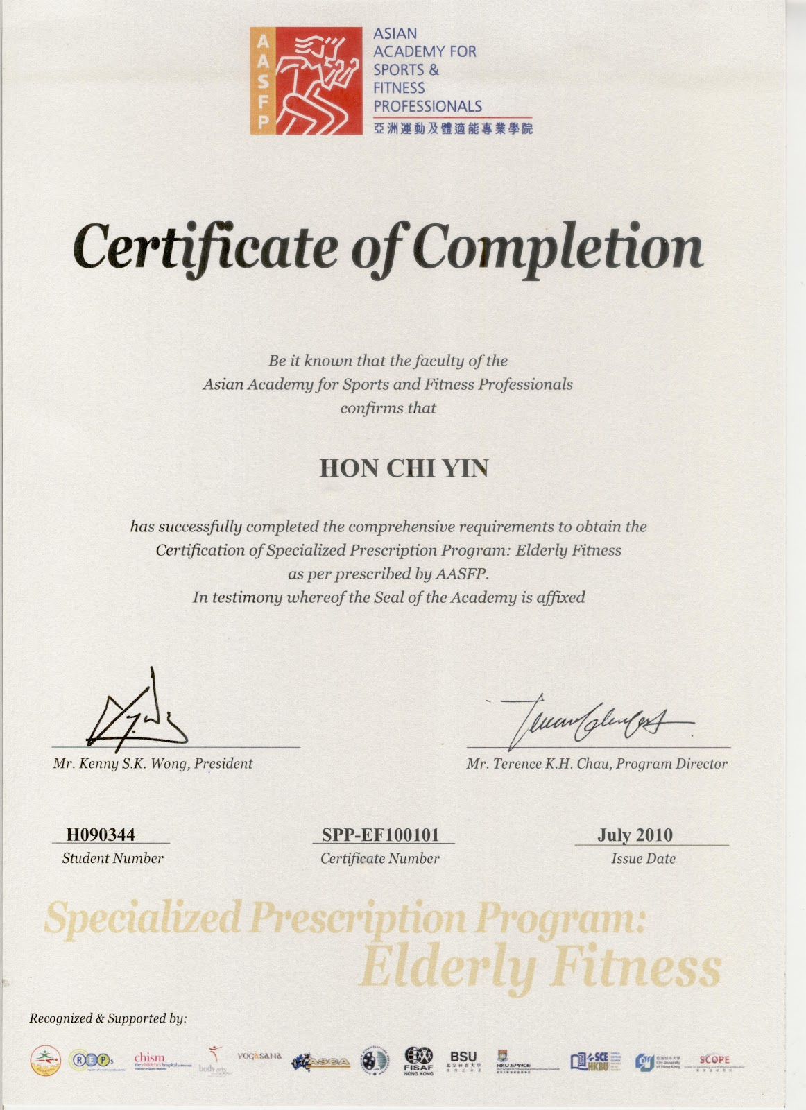 Simon Hon Personal Fitness Trainer In Hong Kong Certification