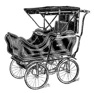 1913 Illustration Baby Carriage Image Transfer