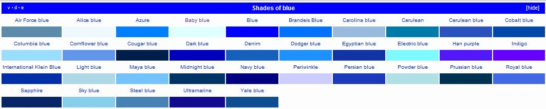 Fifty shades of blue and i hate most of them weddingbee for Different shades of blue