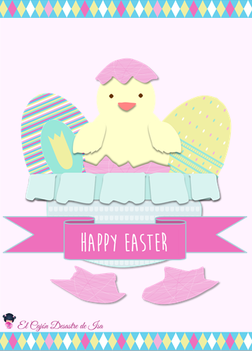 Happy Easter eggs and Little chicken greeting card
