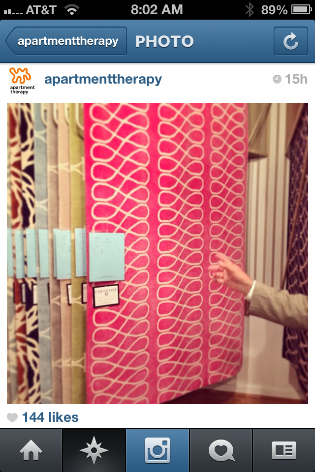 Instagram from Apartment Therapy founder Maxwell Ryan showing a pink COCOCOZY Loop Rug