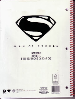 Back cover of the Man of Steel spiral notebook
