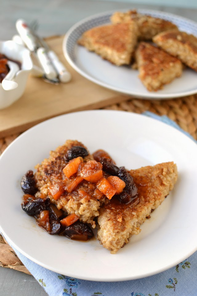 Pan Seared Oatmeal with Warm Fruit Compote