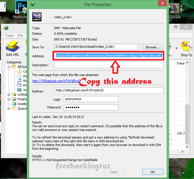 how to resume download corrupted file using idm