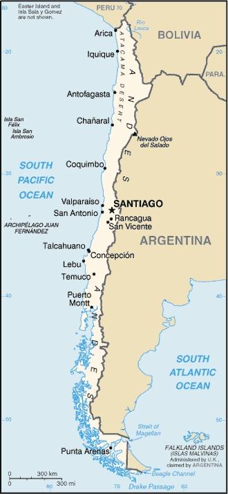mapa de chile con ciudades