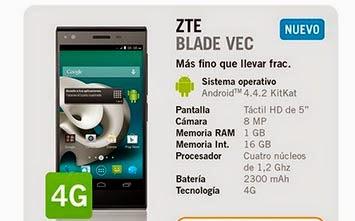 ZTE Blade Vec con Yoigo: precio y características