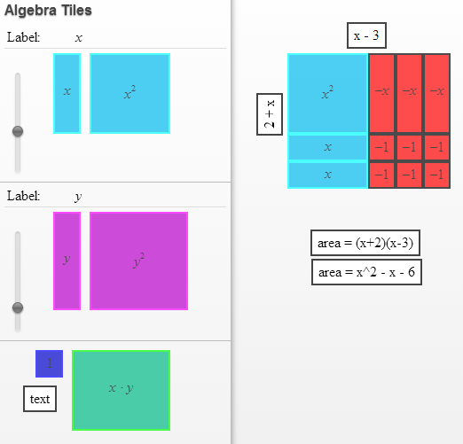 Apps mcpherson math for Algebra tile template