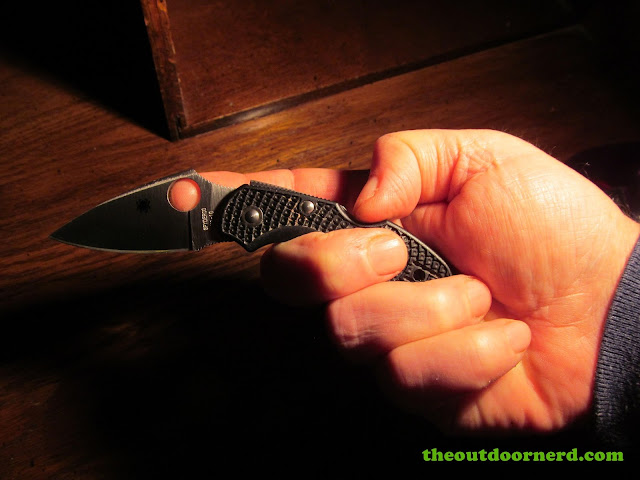 Spyderco Dragonfly 2 FRN Pocket Knife showing one handed close