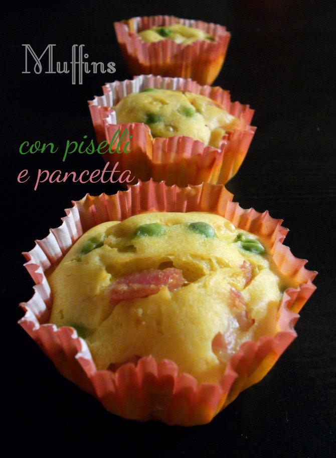 muffins salati con pancetta e piselli freschi