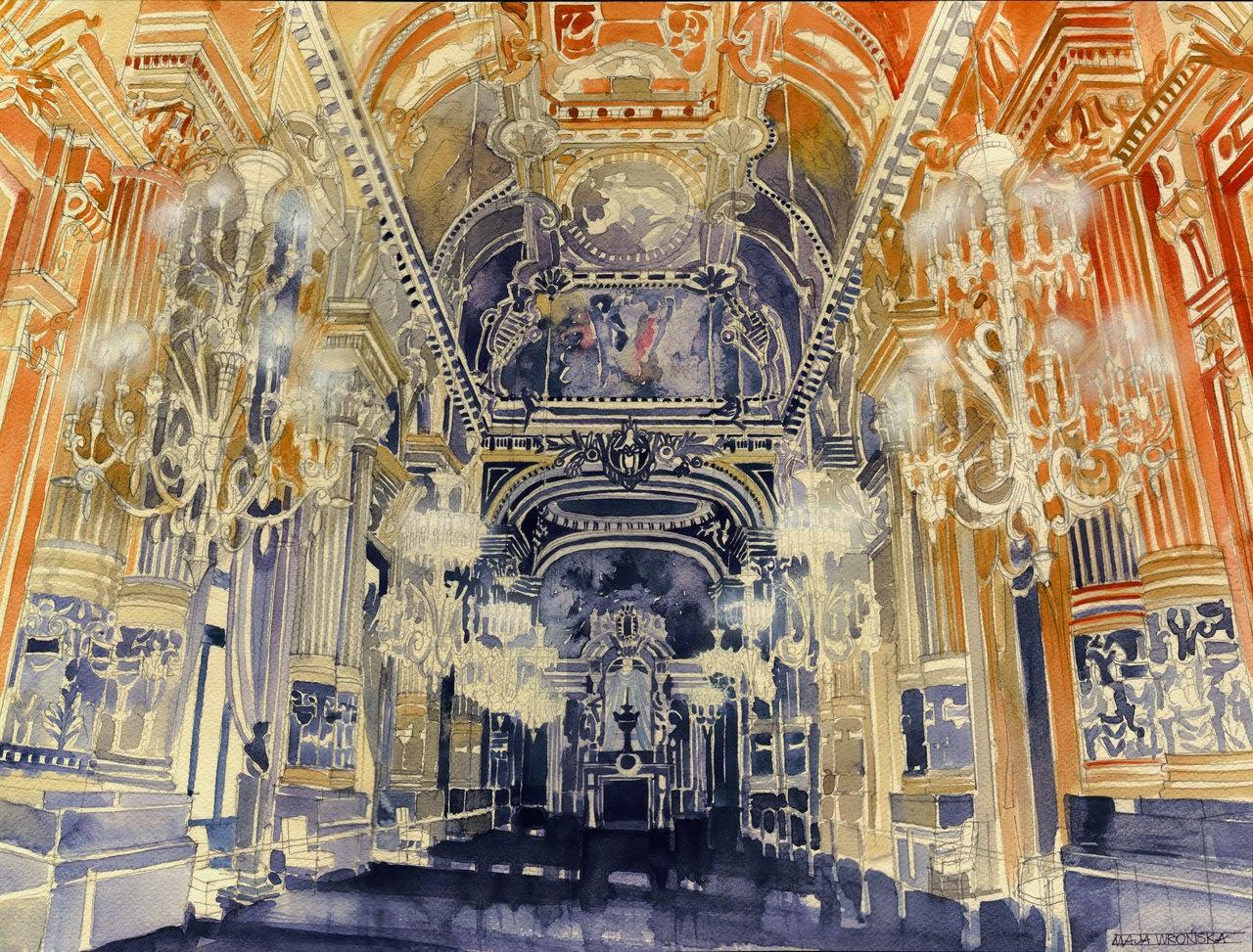 17-Opera-de-Paris-Maja-Wronska-Travels-Architecture-Paintings-www-designstack-co