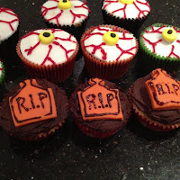 Eyeball and tombstone cupcakes