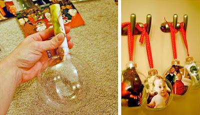 Manualidad con bolas del arbol de Navidad