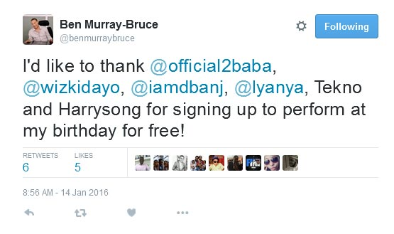 Wizkid, 2face, D'banj, Iyanya, Harrysong and Tekno All Voluntered To Perform At My Birthday For Free - Ben Murray Bruce