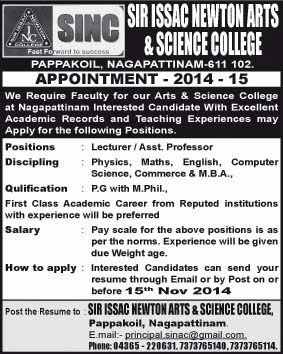 reference advertisement on dailythanthi tamil dated on 9th november 2014 - Resume M Phil Computer Science
