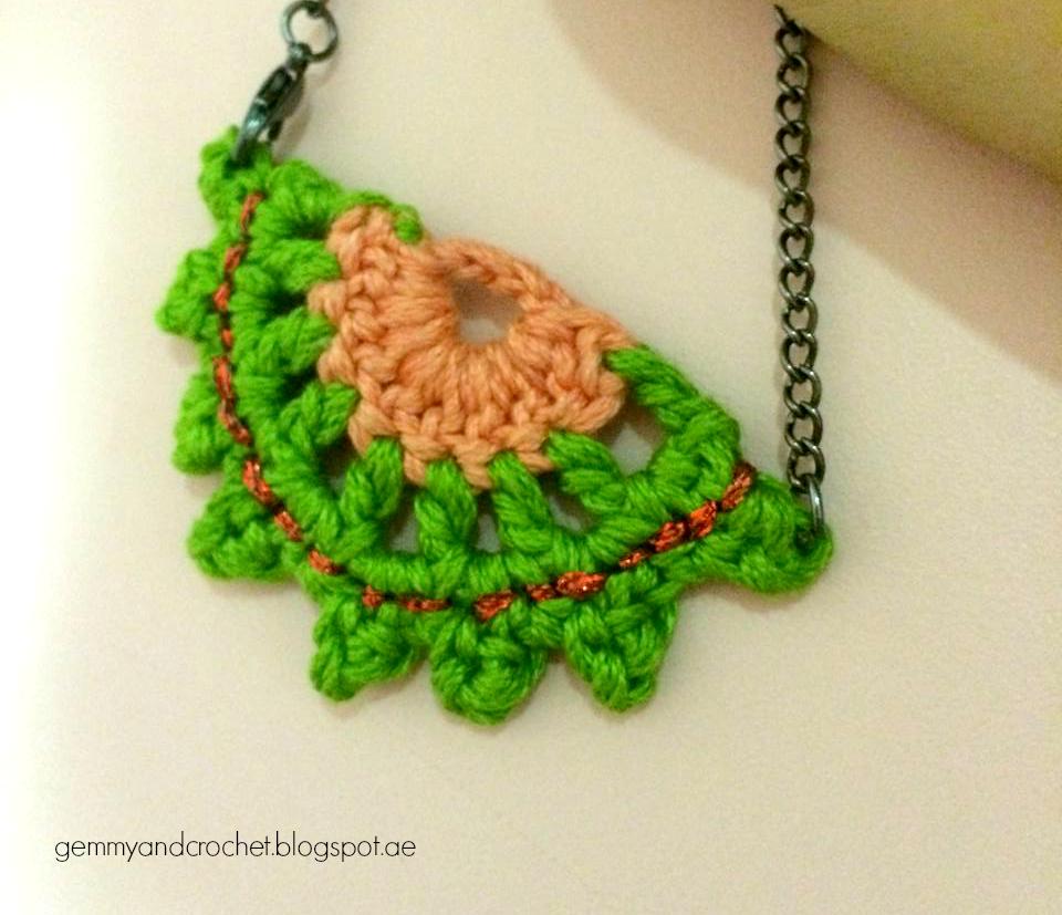 Crochet half moon necklace, crochet necklace