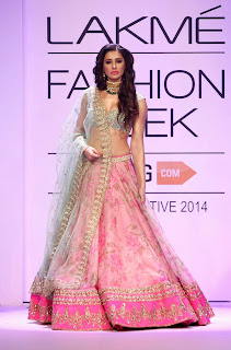 Actress Model Nargis Fakhri Pictures in Lehenga Choli at Lakme Fashion Week Winter Festive 2014  10
