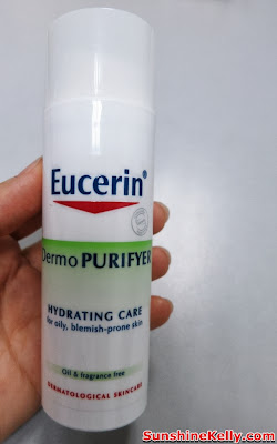 skincare, eucerin, pimples oily combination skin, review, Eucerin DermoPURIFYER Hydrating Care