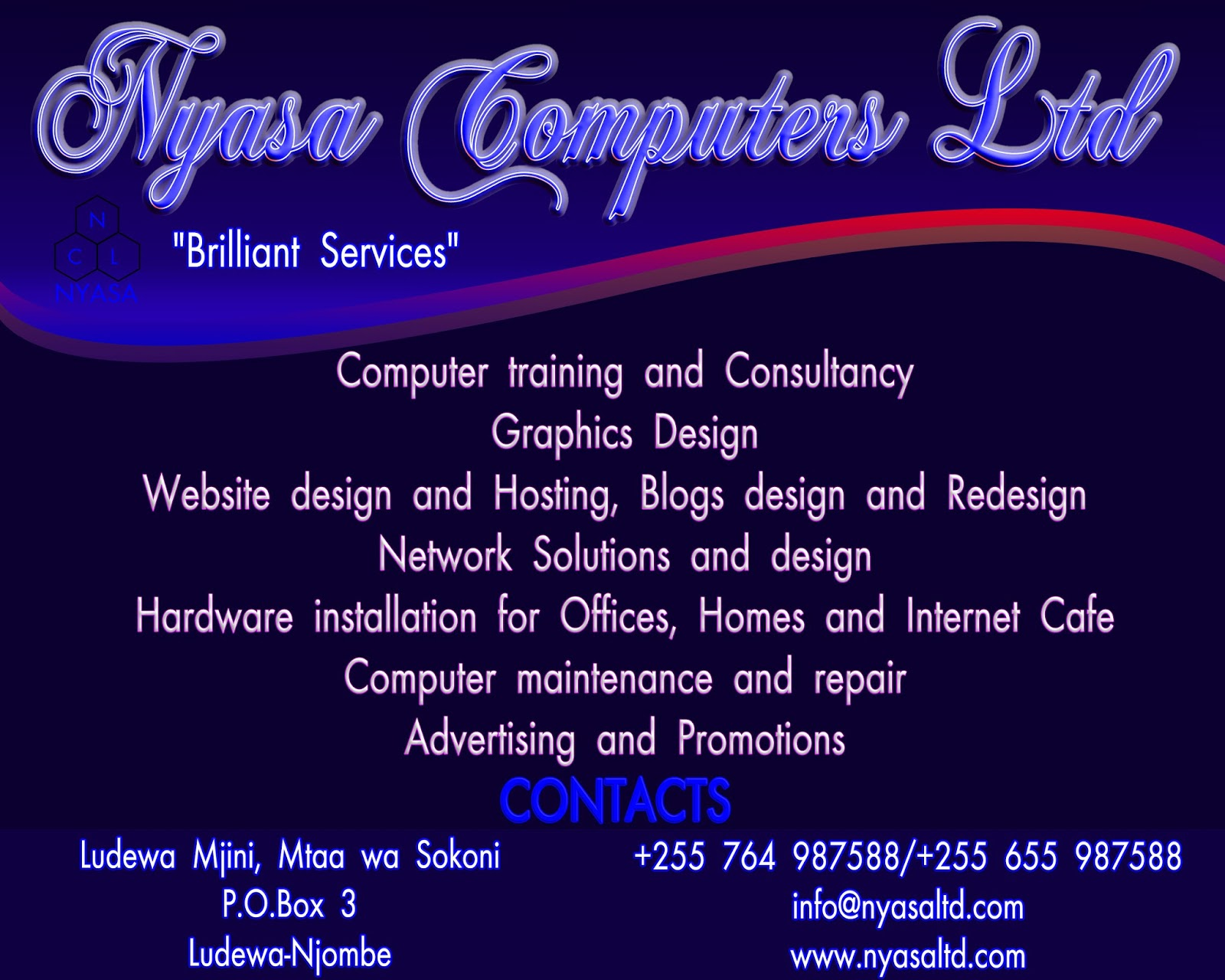NYASA COMPUTERS LTD OFFERS TO YOU A VARIETY OF SERVICES AT