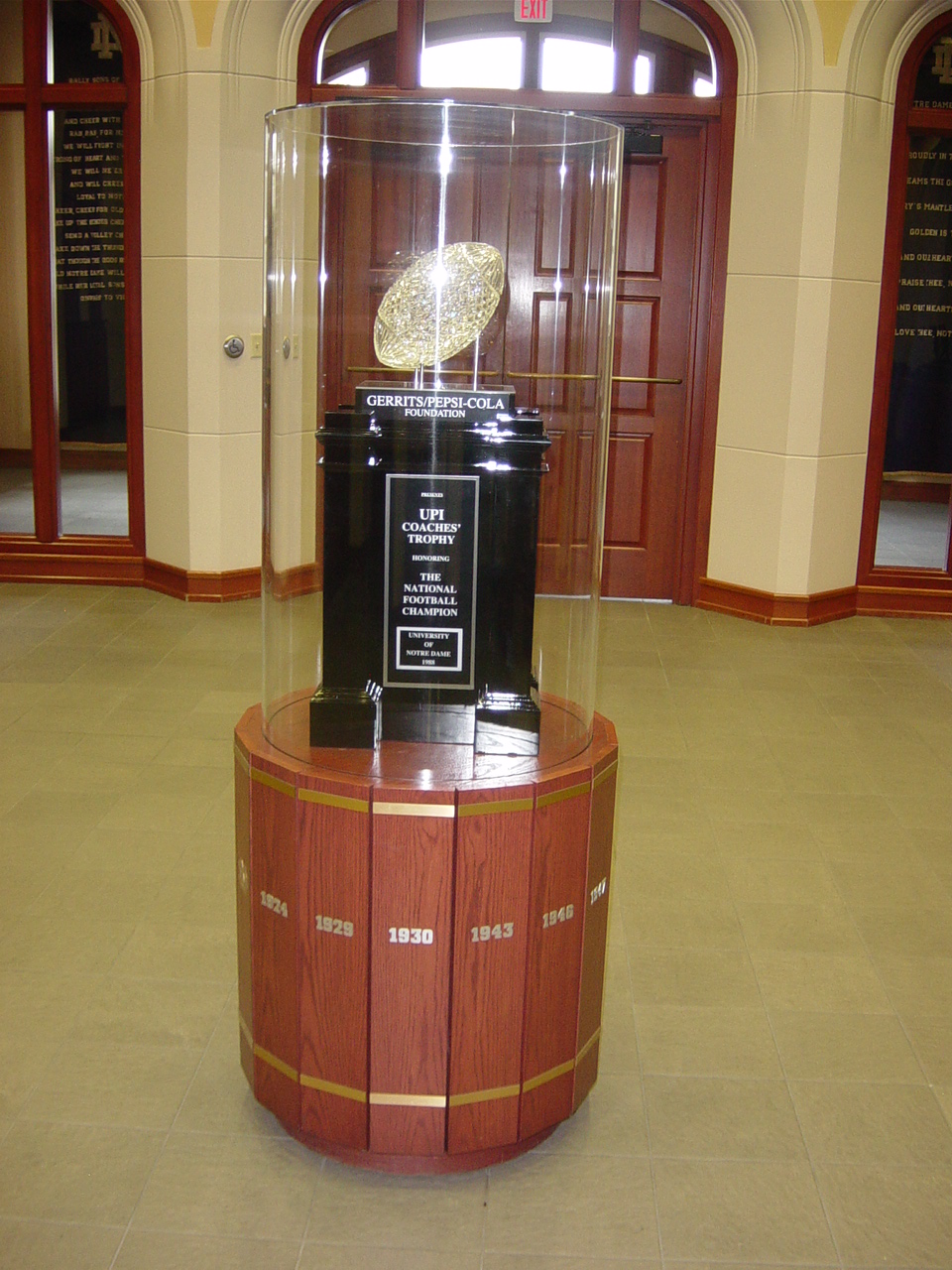 1988 National Championship Trophy Notre Dame
