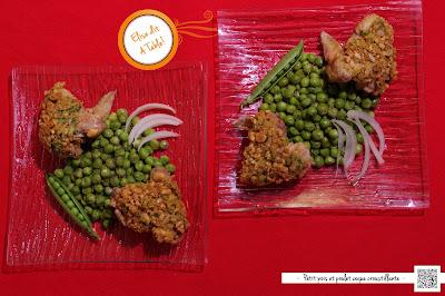 Petit pois et poulet en coque croquante