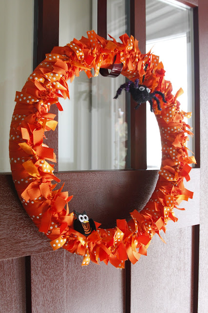 fall halloween ribbon wreath