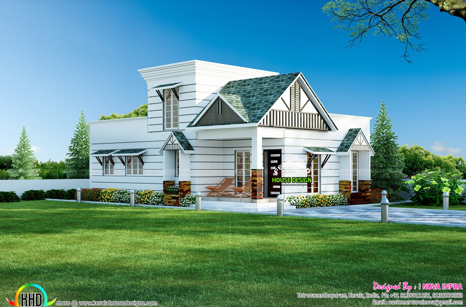 Small colonial style house architecture kerala home for Colonial style home design in kerala