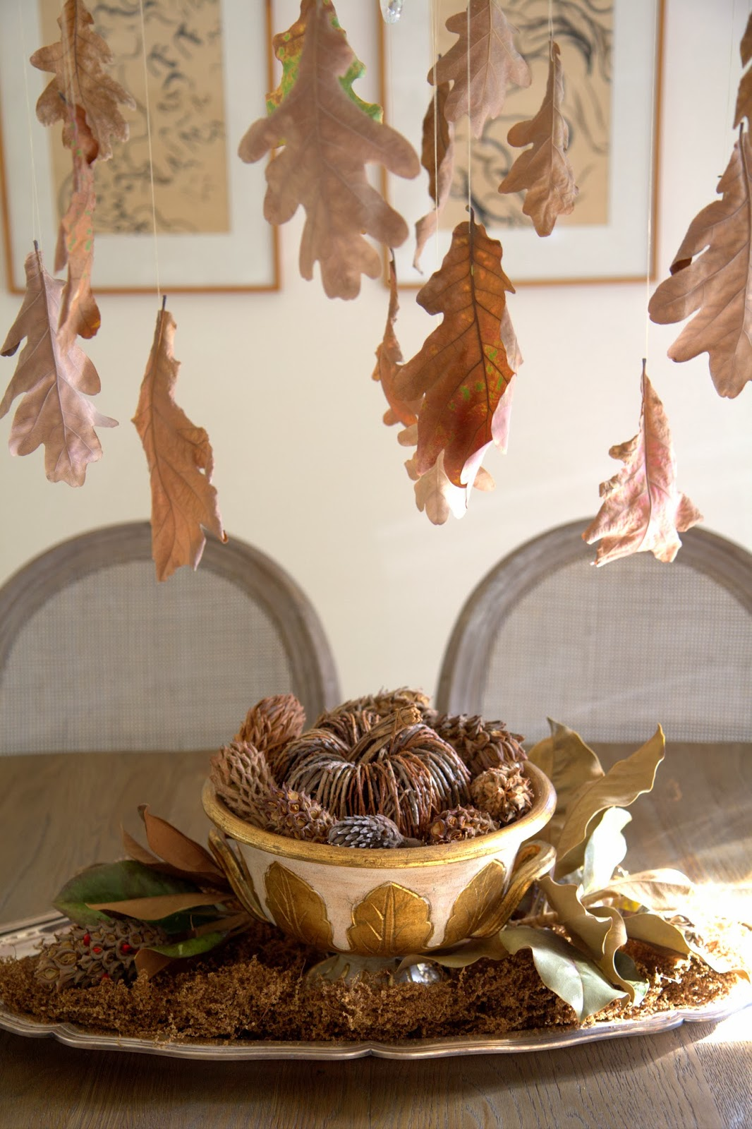 Thanksgiving Pumpkin and Pinecone Centerpiece