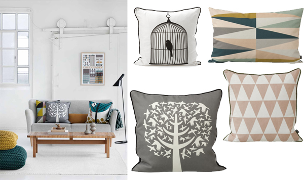 cushions by Ferm living: image left via . images right via
