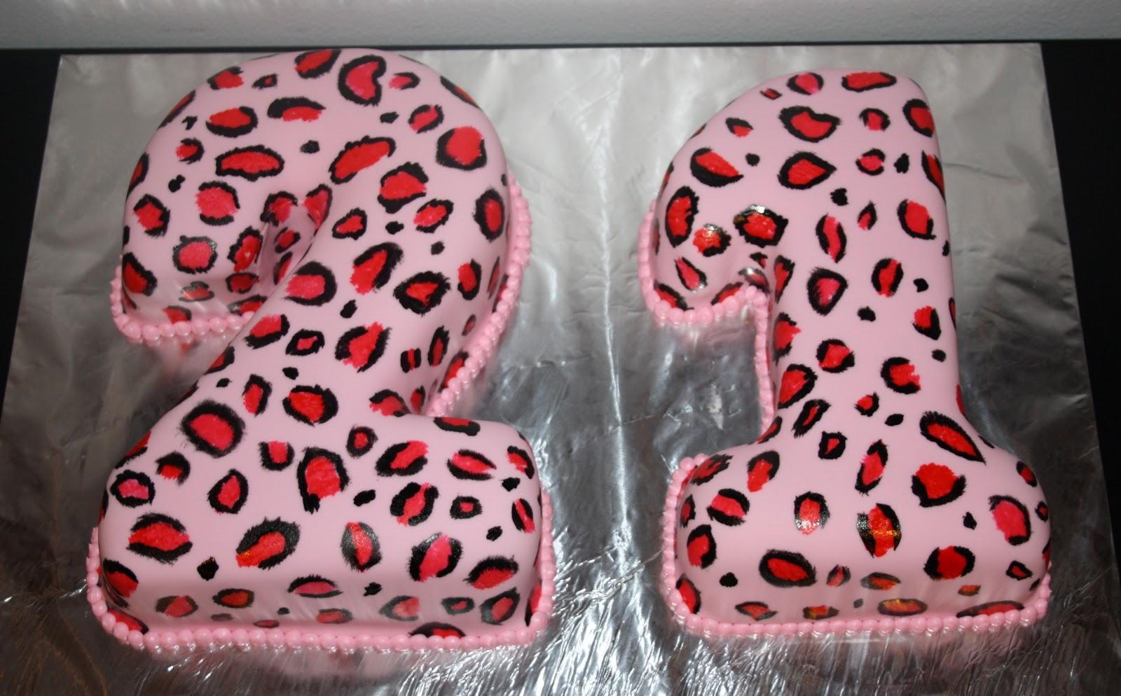 Jacquelines Sweet Shop Pink Cheetah Print 21st Birthday Cake