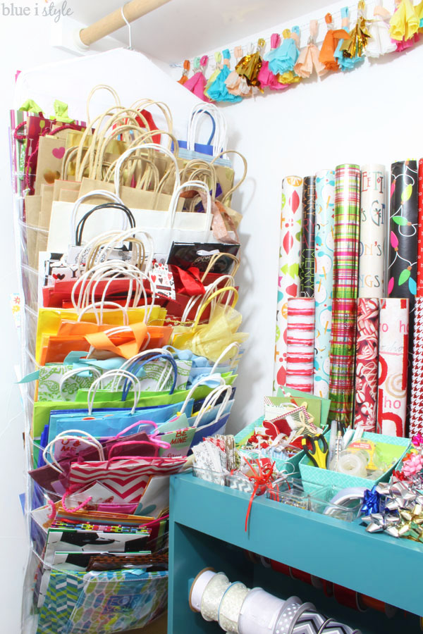 Since I Keep Every Bag That We Receive A Gift In, I Have Quite A Collection  Of Gift Bags. The Hanging Organizer Is Double Sided And Rotates On The  Hanger, ...