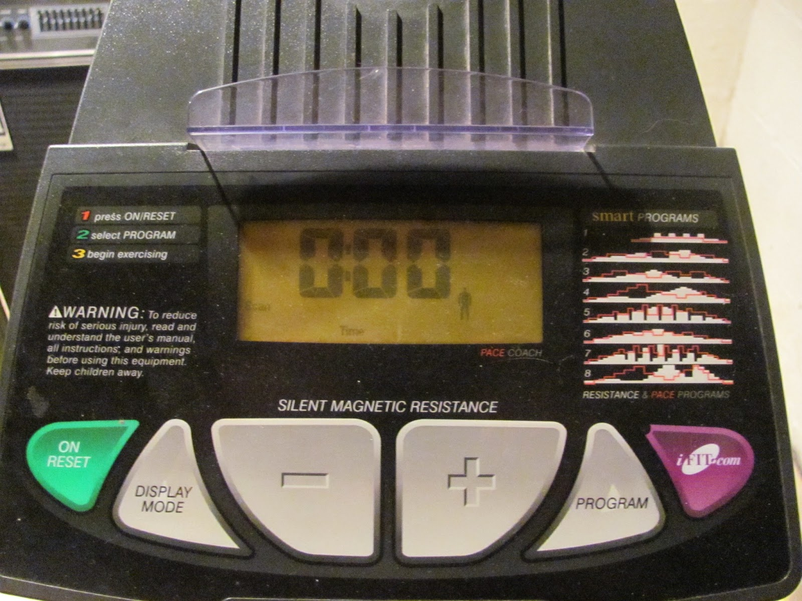 The electronic display on the reclining exercise bike before being sold on Craigslist