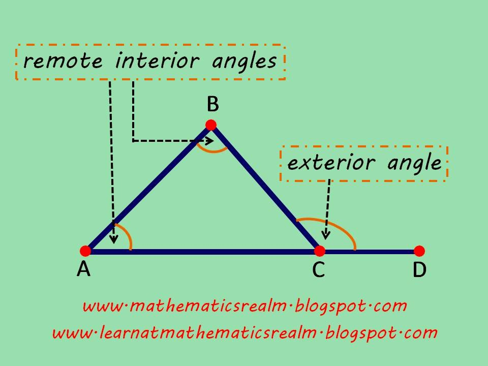 EXTERIOR ANGLE THEOREM Part 1 Exploration – Exterior Angle Theorem Worksheet