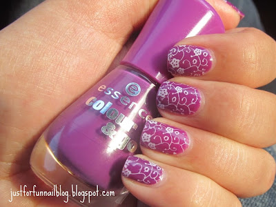 Essence - 132 Break Through with delicate flower stamping from plate m72 from BeautyCare