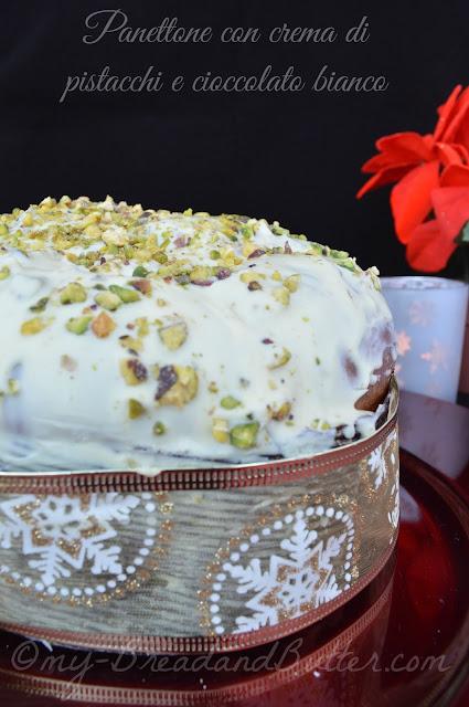 Panettone con crema di pistacchi e cioccolato bianco a lievitazione naturale