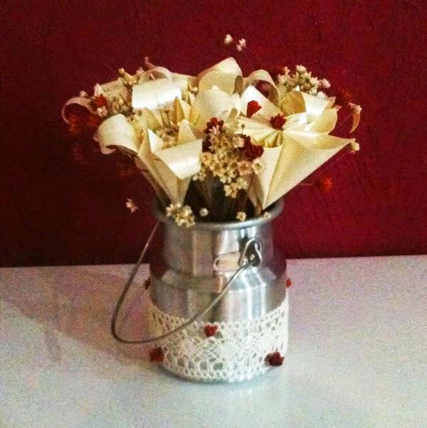 faça você mesma, arranjo, flores, leiteira, casamento, boho