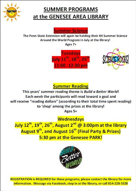 8-16 Summer Programs Genesee Library
