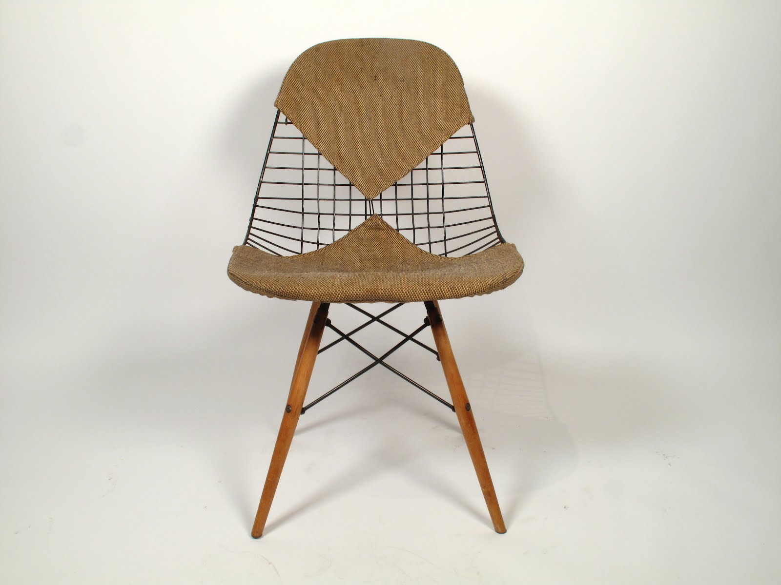 "Just in Modern Charles Eames ""PKW"" Wire Chair Dowel Base 1952"
