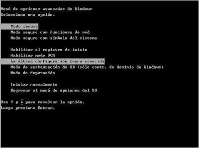 Menu opciones avanzadas Windows