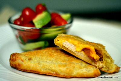 Turkey and Bacon Turnovers with Tomato-Avocado Salad