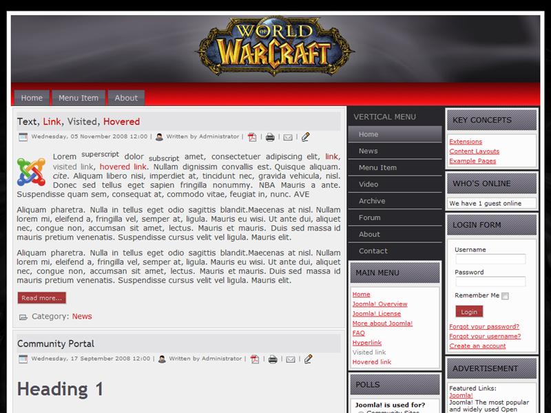 wo w guild websites wo w joomla templates world of warcraft guild