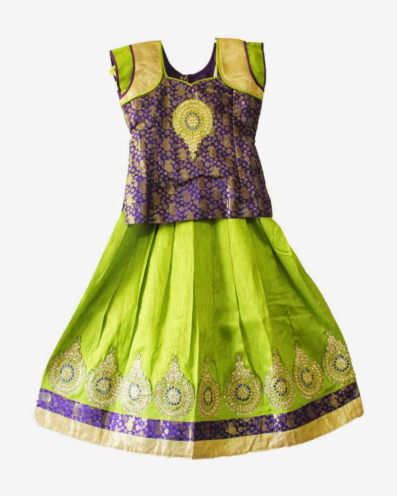 Girls wearing a pattu pavadai pattu pavadai for new born india kids