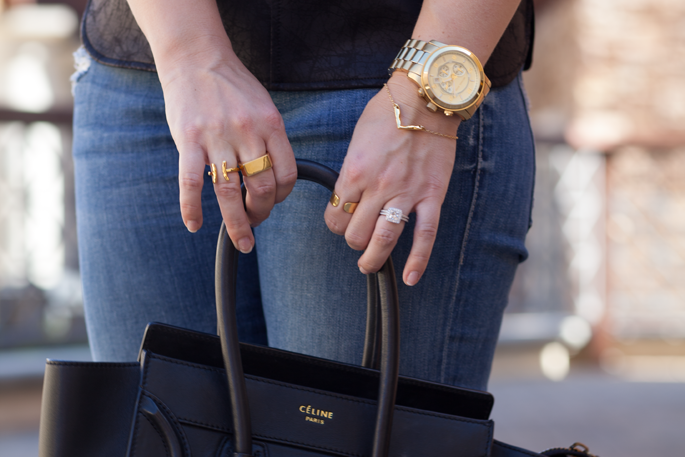 gorjana gold rings and bracelet, laws of layering