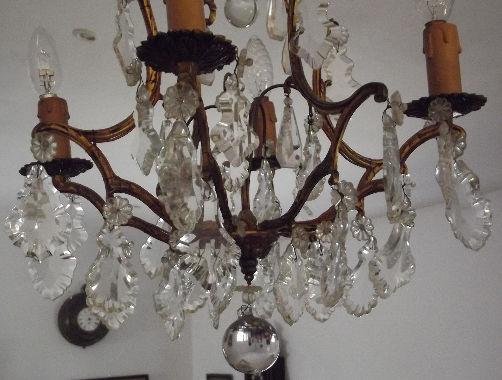 ancien lustre cage bronze pampille pendeloque plafonnir suspension cristal verre ebay. Black Bedroom Furniture Sets. Home Design Ideas