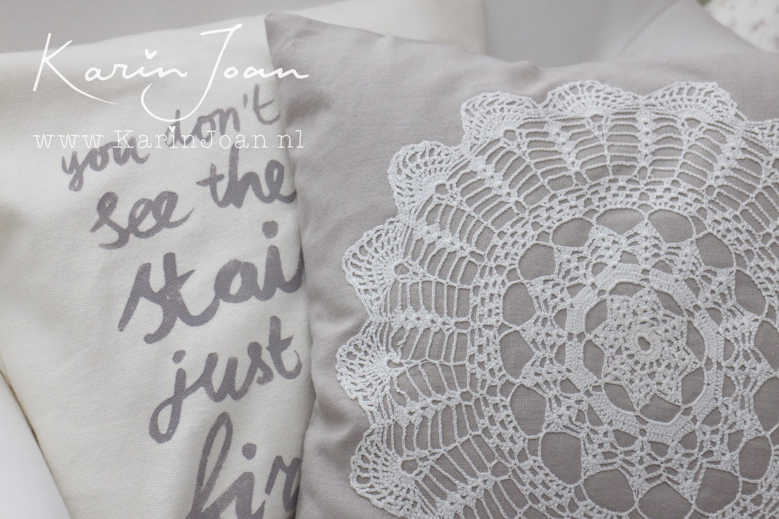 Karin joan: zelfmaken kussen met handgeschreven tekst