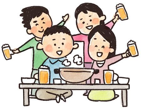 忘年会のイラスト「鍋とビールで乾杯!」