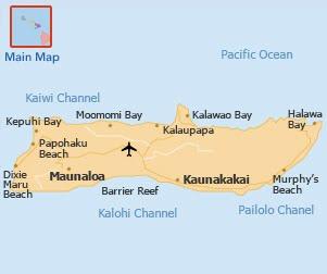 Map of Molokai, Maui county Hawaii